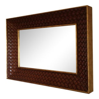 1990s Mirror With Woven Look Frame For Sale