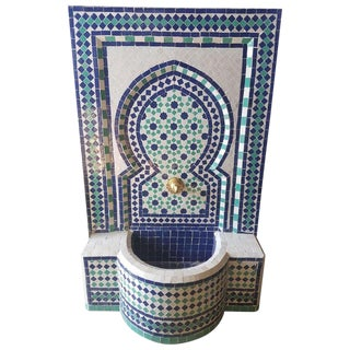 Modern Blue & Aqua Moroccan Mosaic Tile Fountain For Sale