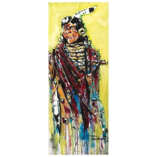 Abstract Painting of an Indian on Canvas For Sale