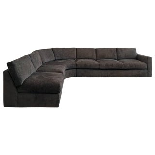 1970s Milo Baughman Signed Sectional Sofa Upholstered in Brown Chenille For Sale