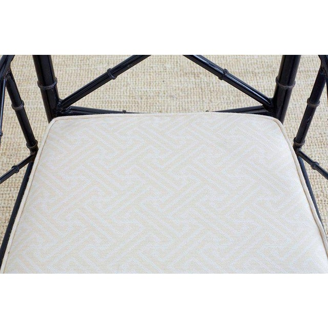 Chinese Chippendale Faux Bamboo Iron Garden Chairs For Sale - Image 10 of 13