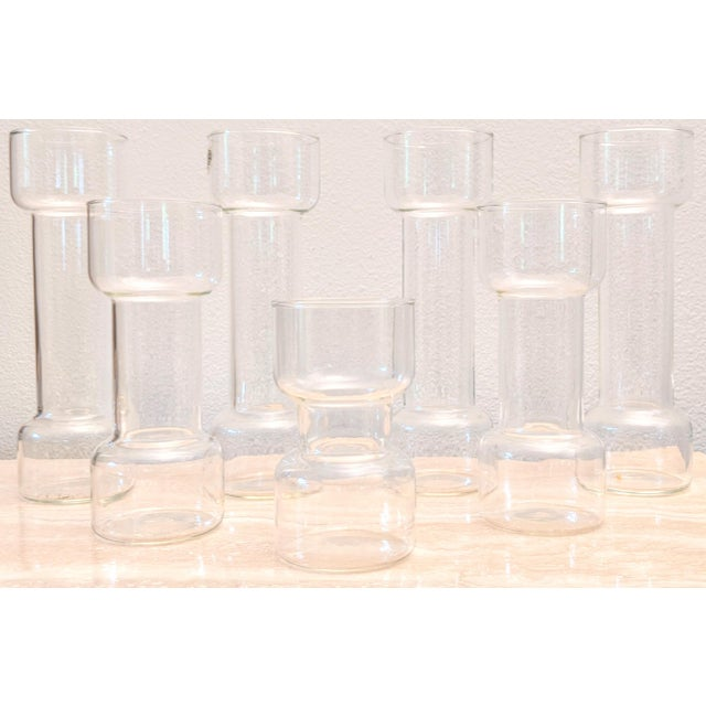 Transparent Minimalist Modernist Pyrex Vases by Creative Glass - Set of 7 For Sale - Image 8 of 9