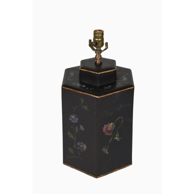 Vintage English Export Floral Style Tea Caddy Lamp For Sale - Image 4 of 8
