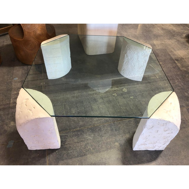 Contemporary 1980's Plaster Coffee Table For Sale - Image 3 of 6