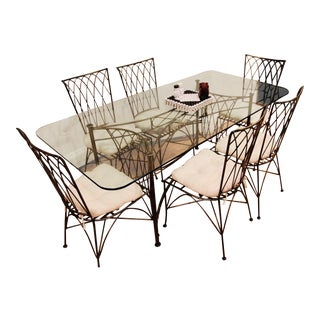 Modern Glass Dining Table Set For Sale