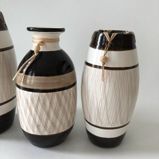 1980s Group of Brazilian Vases With Raffia and Bone Bead Detail For Sale - Image 5 of 12