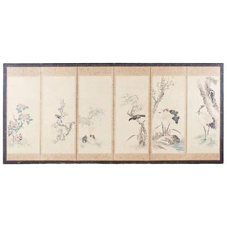 Japanese Six-Panel Meiji Screen of Flora and Fauna For Sale