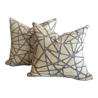 Holly Hunt Tangled Silver Streak Pillows W/ Mushroom Velvet Backing - a Pair For Sale