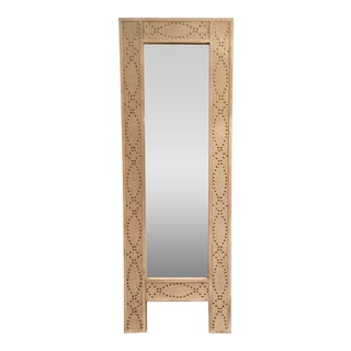 Modern Full Length Wood and Metal Floor Mirror For Sale