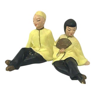 Chinoiserie Chalkware Figurines - A Pair