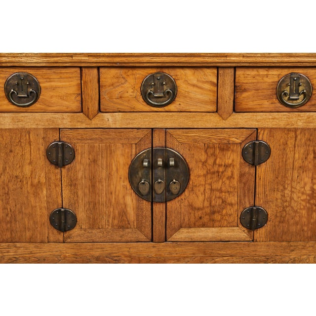 Brown 19th C. Chinese Elm Sideboard For Sale - Image 8 of 9