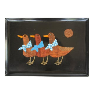 Vintage Curoc Tray With Geese For Sale