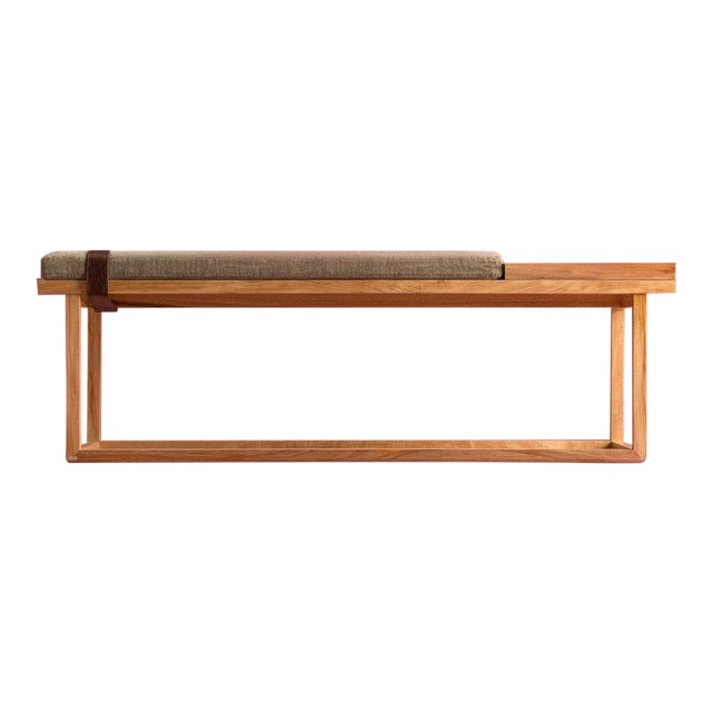 Ebb and Flow Tray Bench in Olive For Sale