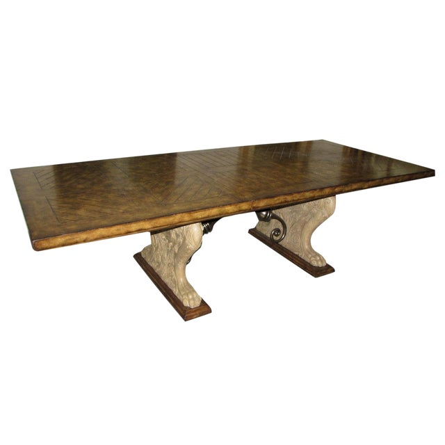 Rustic Matiland Smith Trestle-Base Parquet Top Dining Table For Sale