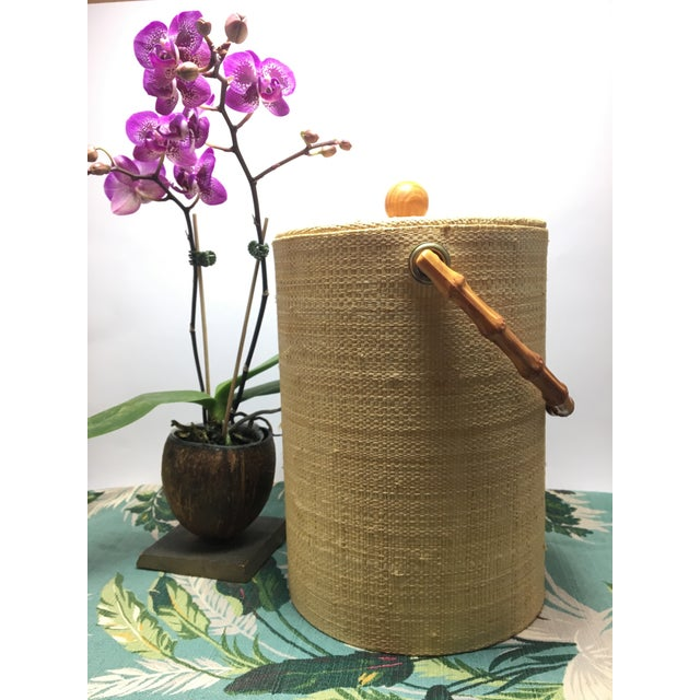 Mid-Century Modern Boho Tiki Ice Bucket With Bamboo Handle For Sale In Denver - Image 6 of 6