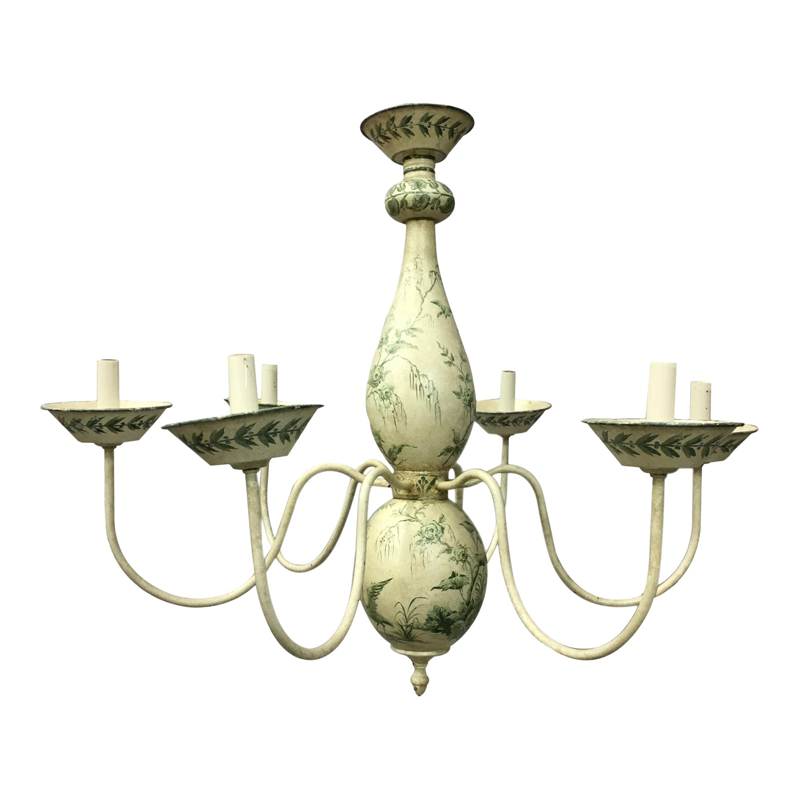 French chinoiserie hand painted urn shaped chandelier chairish aloadofball Choice Image