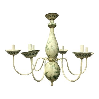 French Chinoiserie Hand Painted Urn Shaped Chandelier For Sale
