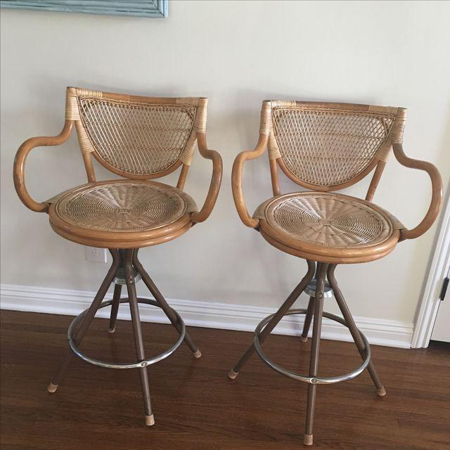 Vintage Wicker Bar Stools - A Pair - Image 2 of 7