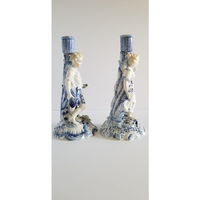 French Provincial Antique Meissen Porcelain Candlesticks-A Pair For Sale - Image 3 of 13