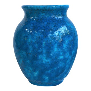 French Art Deco Turquoise Vase Lachenal For Sale