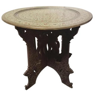 Mid 20th Century Indian Brass Charger Top Folding Wood Base Tea Table For Sale