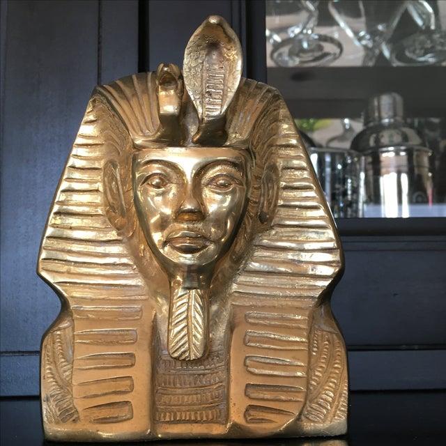 Hollywood Regency Vintage Solid Brass Egyptian Bust of King Tut For Sale - Image 3 of 8
