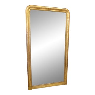 19th Century French Louis Philippe Floor Length Giltwood Mirror For Sale