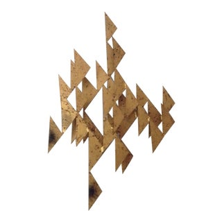 Mid Century Modern Vintage Brutalist Silas Seandel Style Gold Gilt Metal Wall Sculpture For Sale
