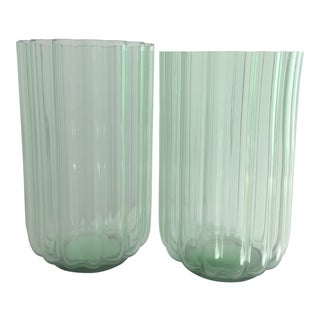 "George Sakier for Fostoria Glass Company ""Lotus"" Vases - a Pair For Sale"