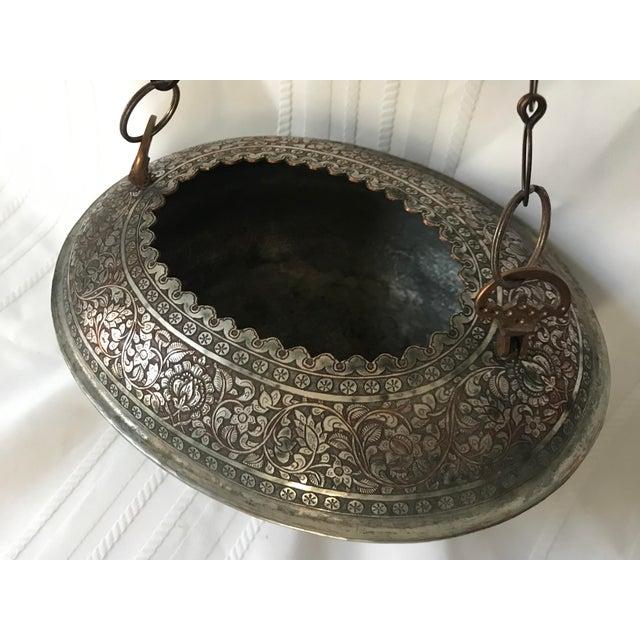 Turkish Vintage Turkish Ornate Oval Hanging Brazier Planter For Sale - Image 3 of 9