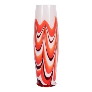 "Vintage Carlo Moretti Burgundy, Orange and White ""Marbled"" Murano Vase, circa 1970 For Sale"