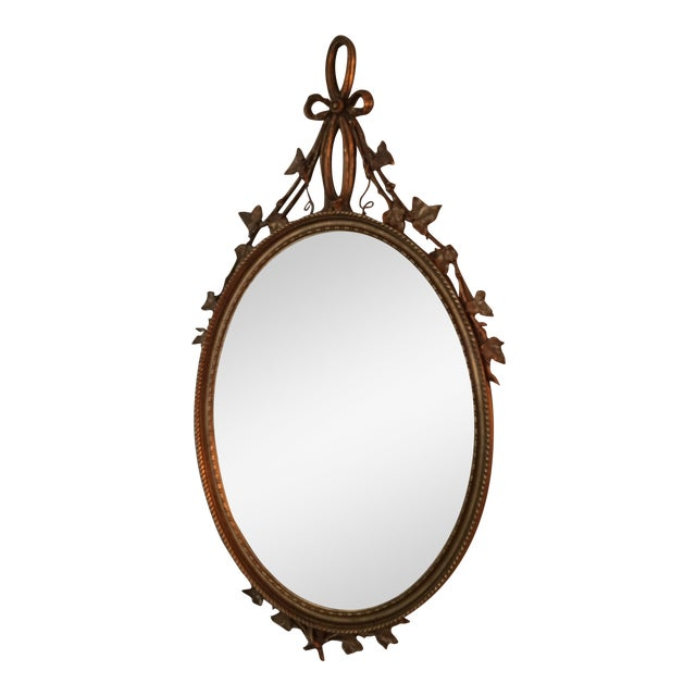 French Guilt Oval Mirror For Sale