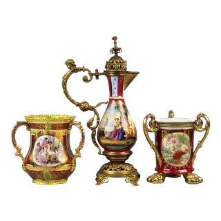 19th Century Royal Vienna Hand-Painted Bronze Mounted Ewer and 2 Chalices For Sale