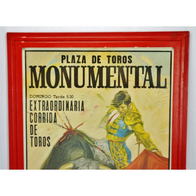 Vintage Framed 1971 Spanish Bullfight Running of the Bulls Lithograph For Sale - Image 9 of 13