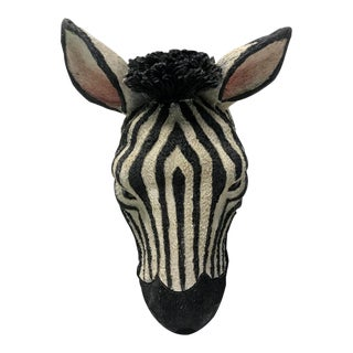 Hand Painted Faux Zebra Head Wall Mount For Sale