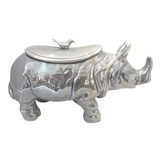 Mid-Century Rhinoceros Lusterware Ceramic Tureen by Christian Dior, France For Sale