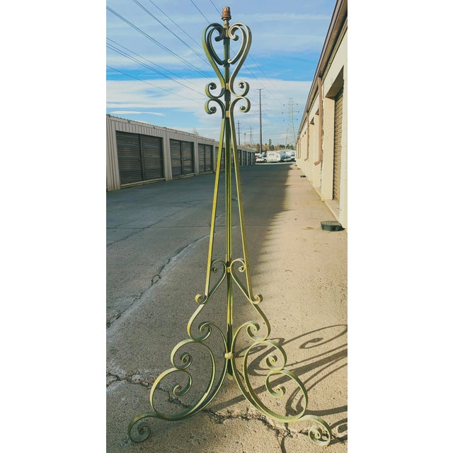 1920s Antique French Green Wrought Iron Floor Lamp For Sale - Image 13 of 13