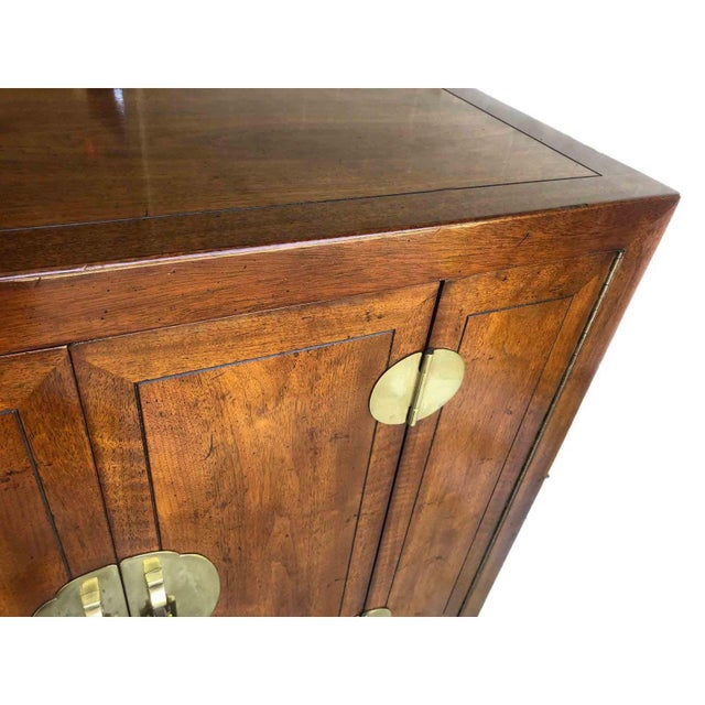 1970s Henredon Asian Chinoiserie Campaign Credenza For Sale - Image 9 of 12