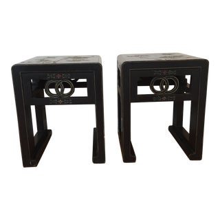 Vintage Asian Black Stools - a Pair For Sale