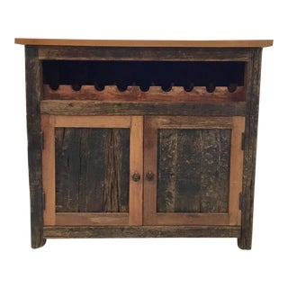 Interlude Home Rustic Bark Wine Cabinet For Sale