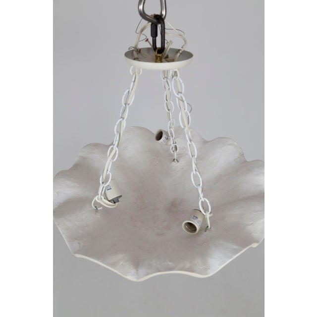 Large White Vintage Casella Undulating Shell Pendant Lights For Sale In San Francisco - Image 6 of 8