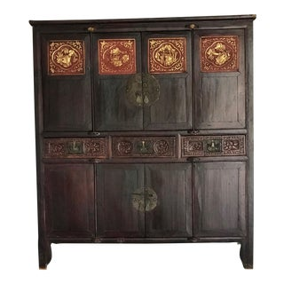 Antique Chinese Carved Wood Armoire For Sale
