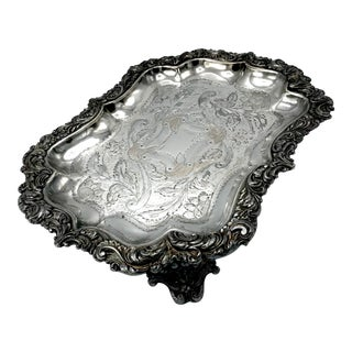 Early 19th Century Georgian Etched Sheffield Silver Plate Tray For Sale
