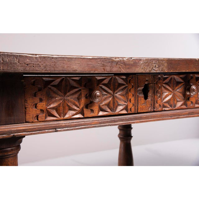 Portuguese All Original 18th Century Carved Walnut Table For Sale - Image 12 of 13