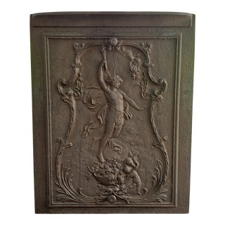 Late 19th Century French Neoclassical Style Cast Iron Prometheus Motif Fireplace Summer Cover For Sale