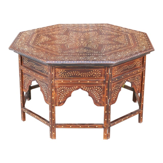 Large Octagonal Bone Inlay Floral Table For Sale