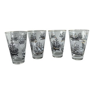 Vintage Libbey Tall Ships Bar Glasses With Gold Trim - Set of 4 For Sale