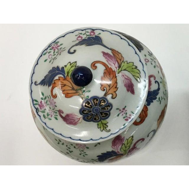 Vintage Tabacco Leaf Design Temple Jar Garniture For Sale - Image 4 of 6