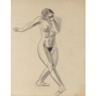Nude Female Dancer Early-Mid Century Graphite Drawing For Sale