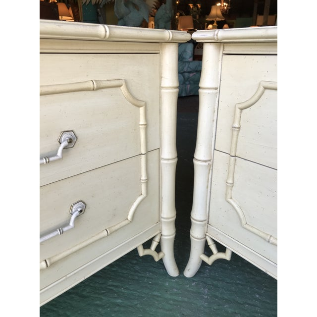Asian Vintage Dixie Faux Bamboo Fretwork Nightstands-A Pair For Sale - Image 3 of 12
